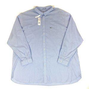 Lacoste 5XLT Blue Gingham Plaid Check Button Shirt